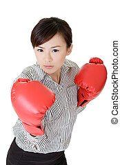 fighting - Young business woman fighting, closeup portrait...