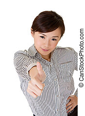 Young business woman give excellent gesture on white