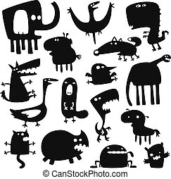funny animals - Collection of cartoon funny vector animals...