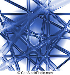 blue intersecting bars of plastic or glass