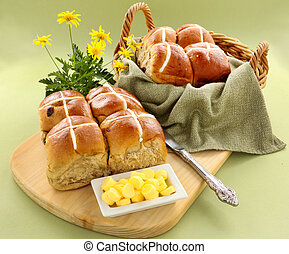 Hot Cross Buns - Hot cross buns in a basket and some with...
