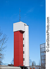Fire tower, red and white