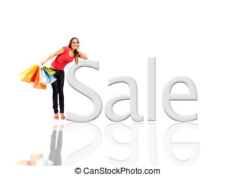 shopping girl - Beautiful woman with colorful shopping bags...