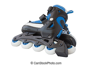 Blue roller skates isolated on a white background.