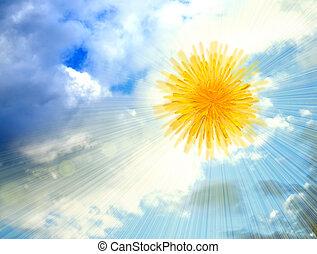 Dandelion-sun in the sky