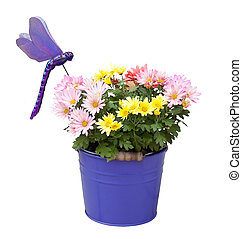 Decorative vase with dragonfly for flowers.