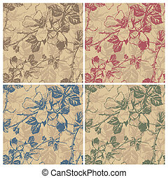 seamless floral pattern (vector) - seamless retro floral...