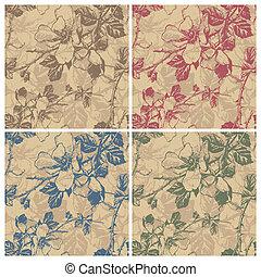 floral, patrón,  seamless,  (vector)