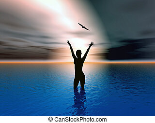 Help me - Woman rising her hands to heaven, expressing her...