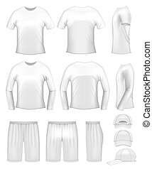 White mens clothing templates - t-shirts, caps and shorts
