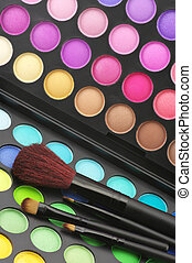 Eye shadows palette and brushes