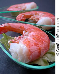 Prawns with salad