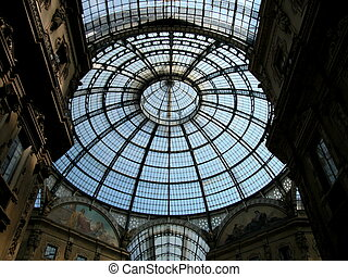 Gallery Vittorio Emanuele II in Milan - Looking up in the...