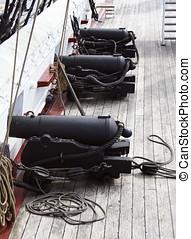 armas, antigas,  naval, Navio guerra