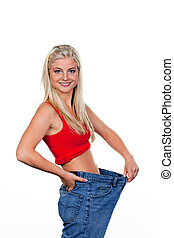 Wife to a successful diet with large pants