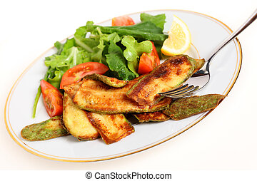 Fried courgette slices and salad - A vegan vegetarian meal...