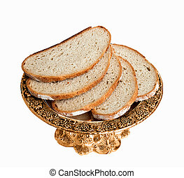 The dish with bread isolated on white background.
