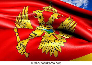 Flag of Montenegro against cloudy sky. Close up.