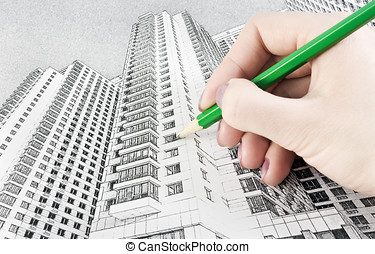 Draw high-rise building - hand draws high-rise building with...