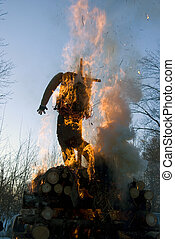Mardi gras winter effigy in spring fire - Mardi gras winter...