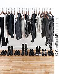 branca, pretas, sapatos, femininas, roupas