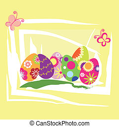 Springtime Easter holiday wallpaper colorful eggs with...