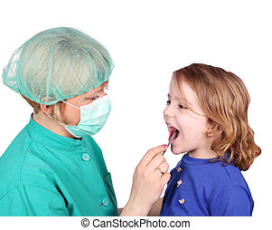female doctor examines the throat of little girl