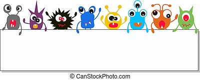 monsters holding a banner - colorful monsters holding a...