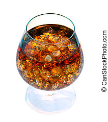Brandy with ice in a glass.