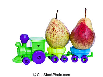 A toy train takes ripe pears.