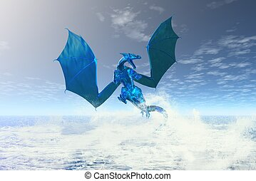 Elemental Water Dragon - Elemental water dragon rising from...