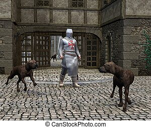 Templar Knight at a castle gate - Mediaeval Templar Knight...