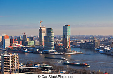 Rotterdam view from Euromast tower at winter sunny day...