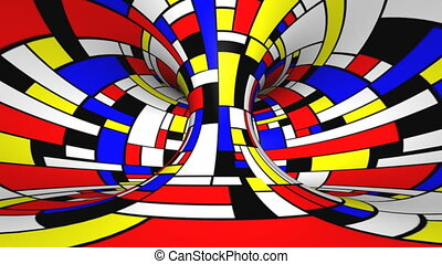 Twist rotation - Mondrian style - Loop twisted rotation -...