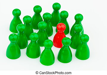Bullying in the team Outsider - Red and green characters...
