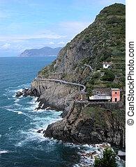 Amor, estrada, Cinque, Terre, Itália