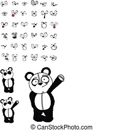 panda bear cartoon set02 - panda bear cartoon set in vector...