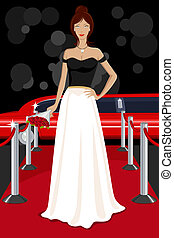 Glamorous Lady on Red Carpet - illustration of glamorous...
