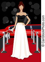 Glamorous Lady on Red Carpet - illustration of glamorous...