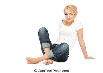 calm attractive teenage girl