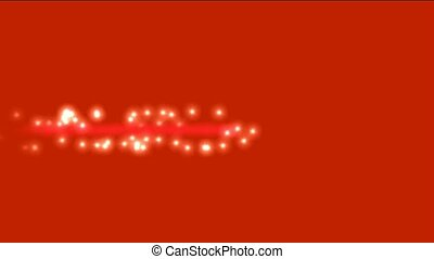 white particles winding around red