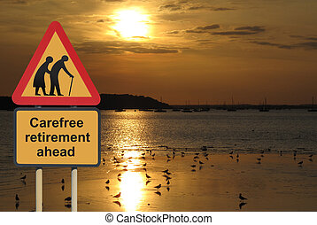 Carefree retirement road sign against a sunset...