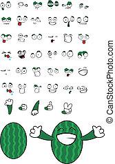 watermelon cartoon set7 - watermelon cartoon set in vector...