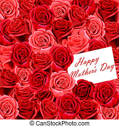 Mothers Day card on roses - Mothers Day card on a background...
