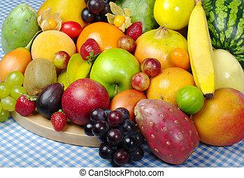 exótico, fruta, mezcla, de madera, tabla, mantel
