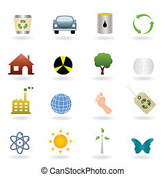 Ecology icon set - Ecology icons and symbols set