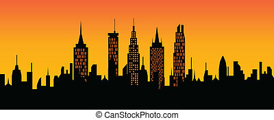 Cityscape at sunset - City skyline at sunset or sunrise