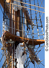 Tall sail ship rigging ropes and shroud