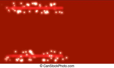 white particles and dots winding around red laser...