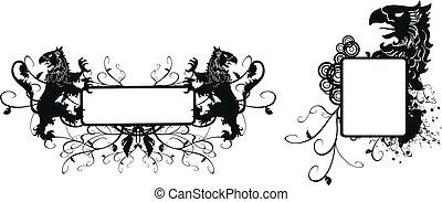 heraldic gryphon coat of arms set20 - heraldic gryphon coat...